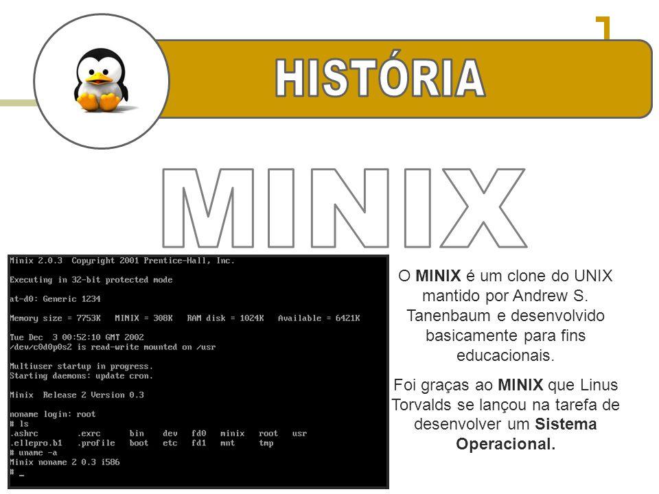 HISTÓRIA MINIX. O MINIX é um clone do UNIX mantido por Andrew S. Tanenbaum e desenvolvido basicamente para fins educacionais.