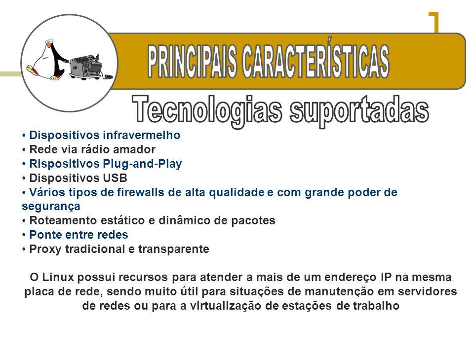 r PRINCIPAIS CARACTERÍSTICAS Tecnologias suportadas