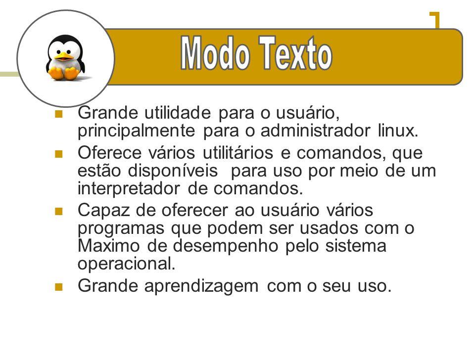 Modo Texto Grande utilidade para o usuário, principalmente para o administrador linux.