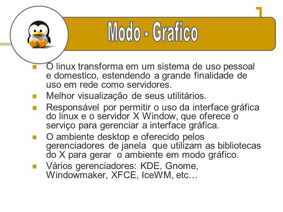 Modo - Grafico O linux transforma em um sistema de uso pessoal e domestico, estendendo a grande finalidade de uso em rede como servidores.