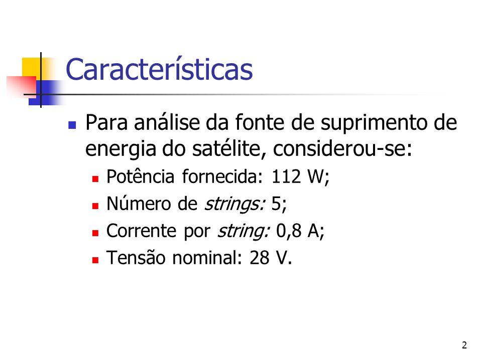 Características Para análise da fonte de suprimento de energia do satélite, considerou-se: Potência fornecida: 112 W;