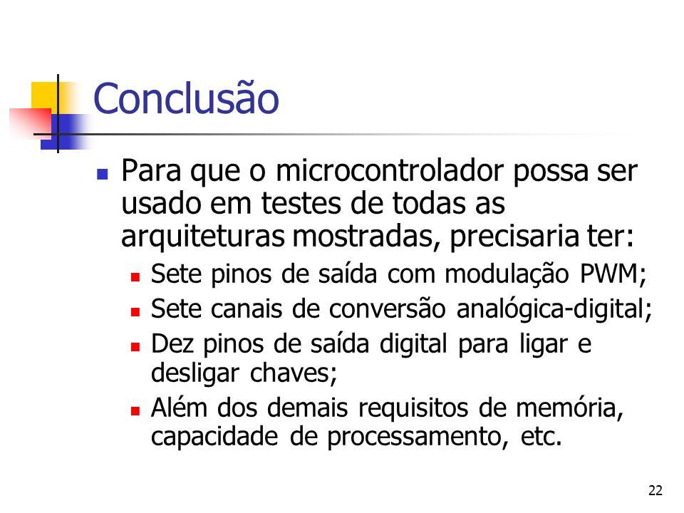 Conclusão Para que o microcontrolador possa ser usado em testes de todas as arquiteturas mostradas, precisaria ter: