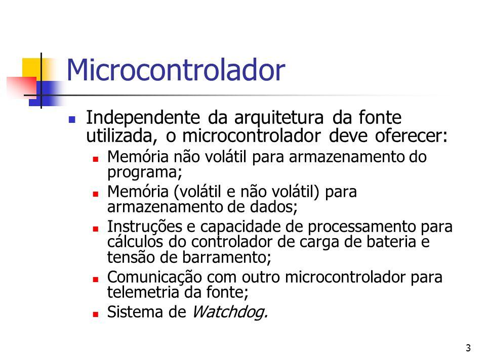 Microcontrolador Independente da arquitetura da fonte utilizada, o microcontrolador deve oferecer: