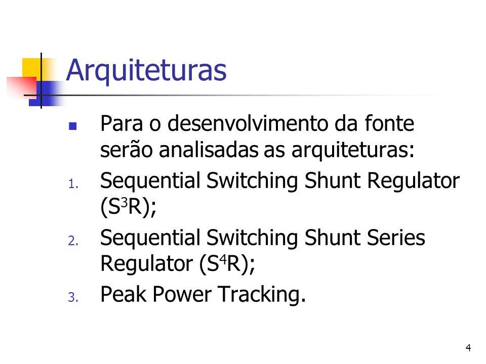 Arquiteturas Para o desenvolvimento da fonte serão analisadas as arquiteturas: Sequential Switching Shunt Regulator (S3R);
