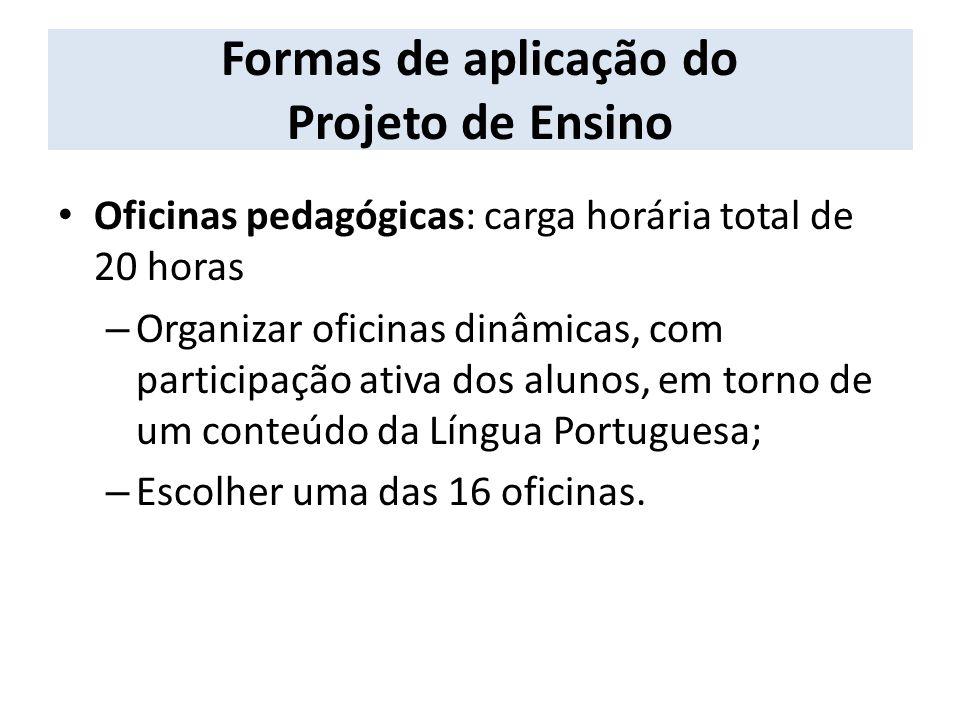 Formas de aplicação do Projeto de Ensino
