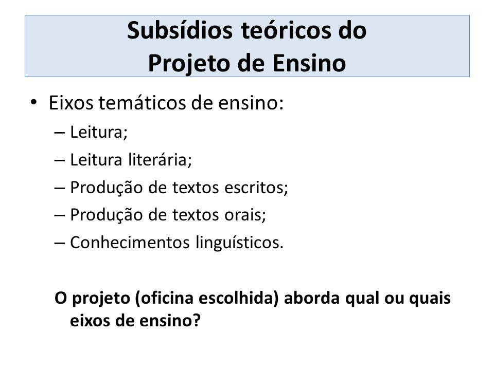 Subsídios teóricos do Projeto de Ensino