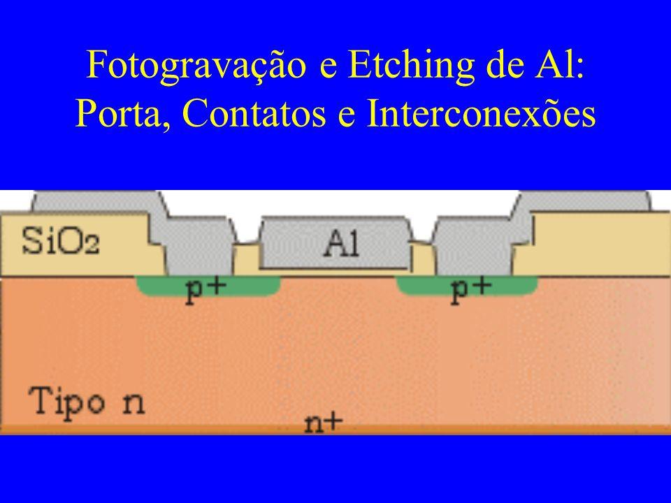 Fotogravação e Etching de Al: Porta, Contatos e Interconexões