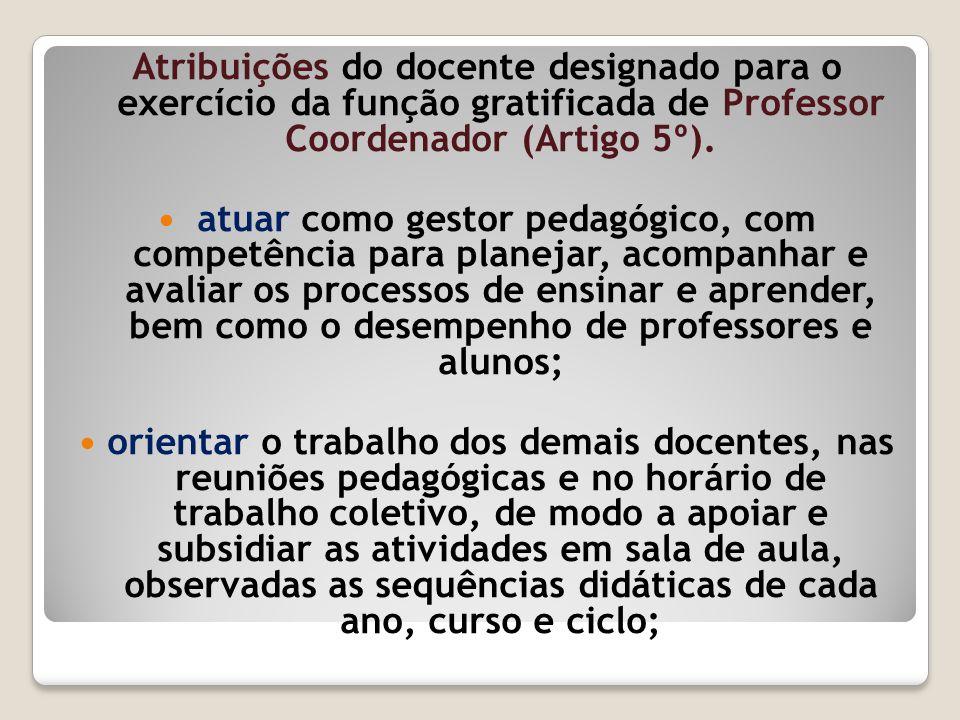 Atribuições do docente designado para o exercício da função gratificada de Professor Coordenador (Artigo 5º).