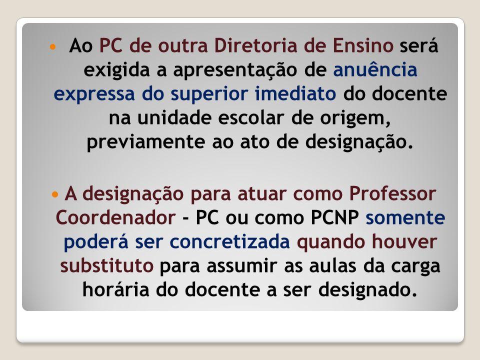 Ao PC de outra Diretoria de Ensino será exigida a apresentação de anuência expressa do superior imediato do docente na unidade escolar de origem, previamente ao ato de designação.