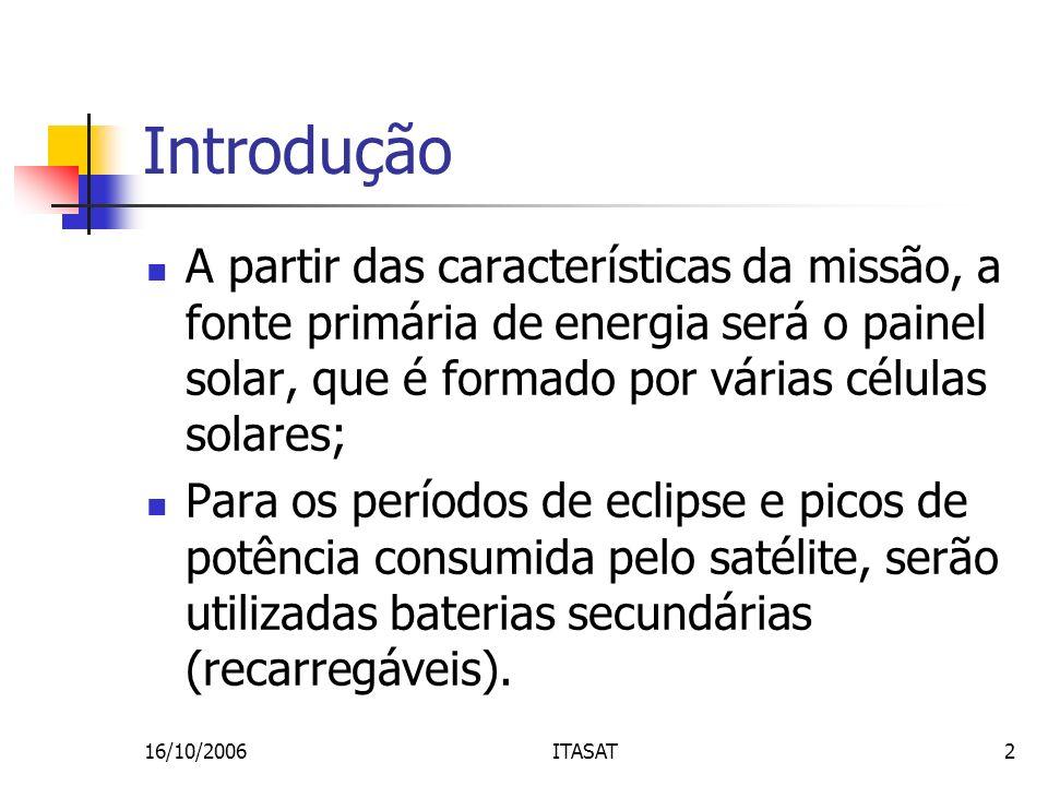 Introdução A partir das características da missão, a fonte primária de energia será o painel solar, que é formado por várias células solares;