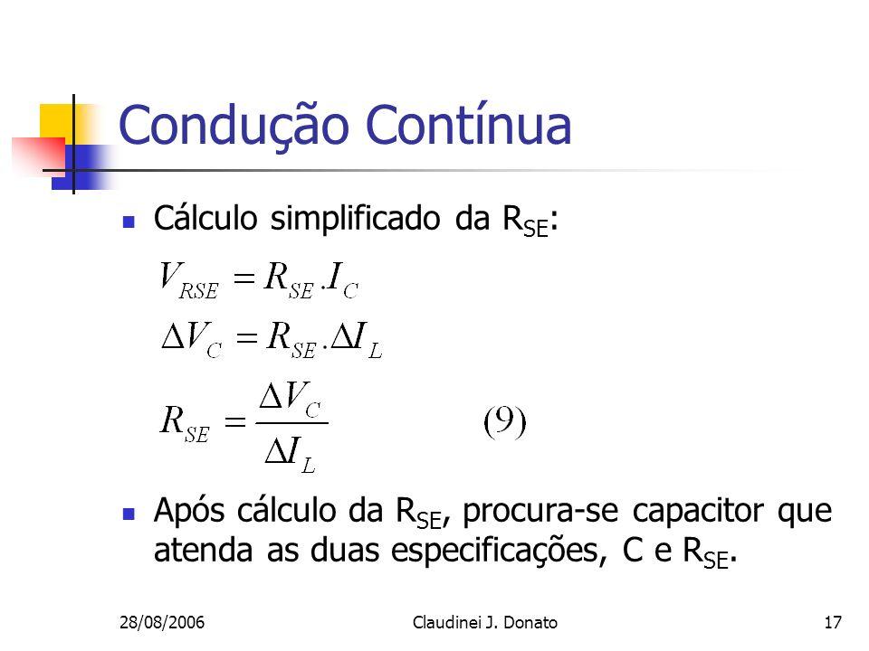 Condução Contínua Cálculo simplificado da RSE: