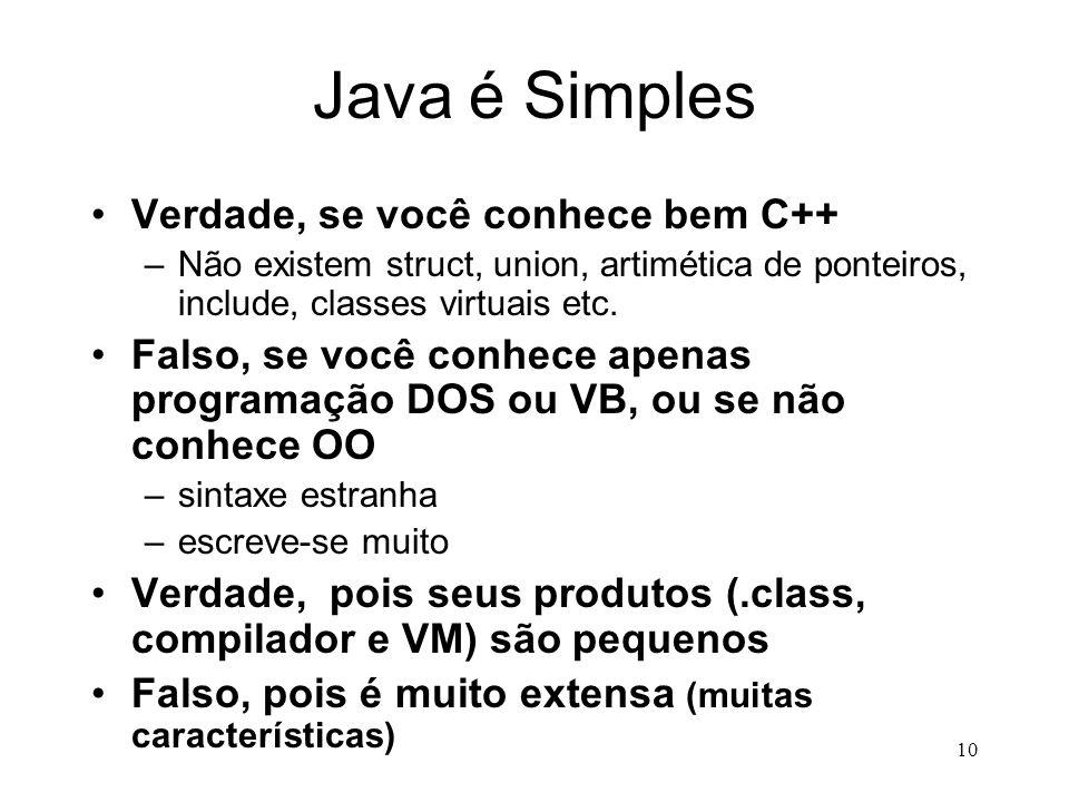 Java é Simples Verdade, se você conhece bem C++