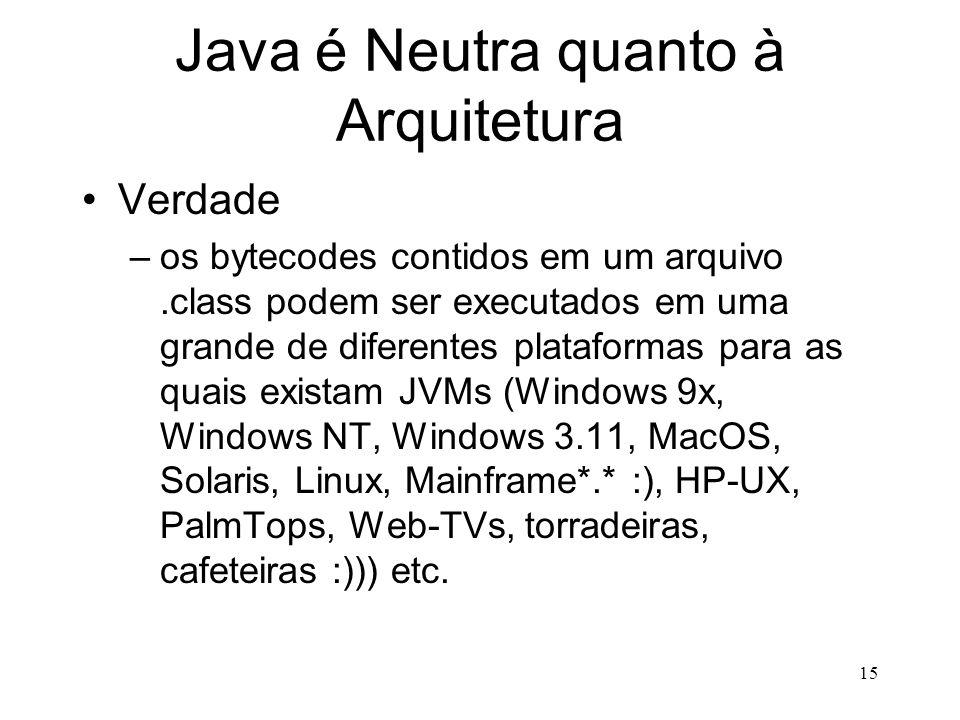 Java é Neutra quanto à Arquitetura