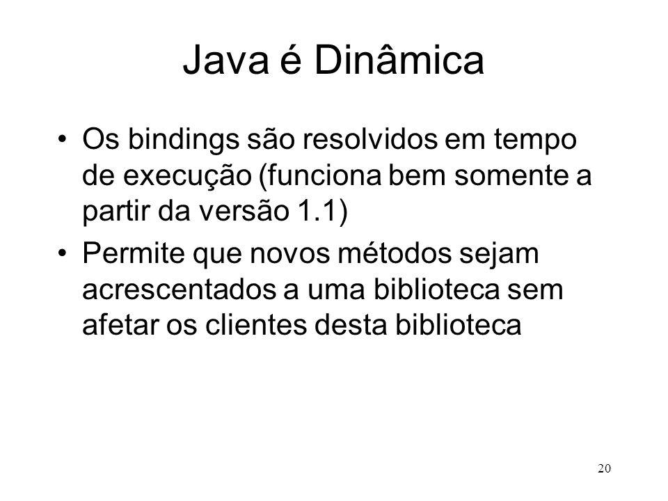 Java é Dinâmica Os bindings são resolvidos em tempo de execução (funciona bem somente a partir da versão 1.1)