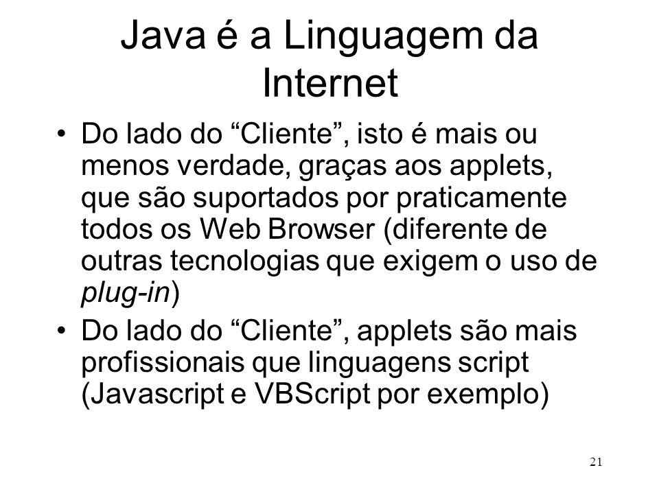 Java é a Linguagem da Internet