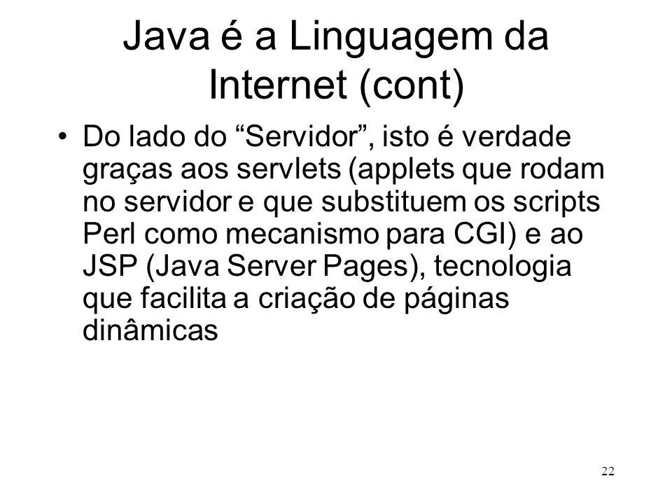 Java é a Linguagem da Internet (cont)