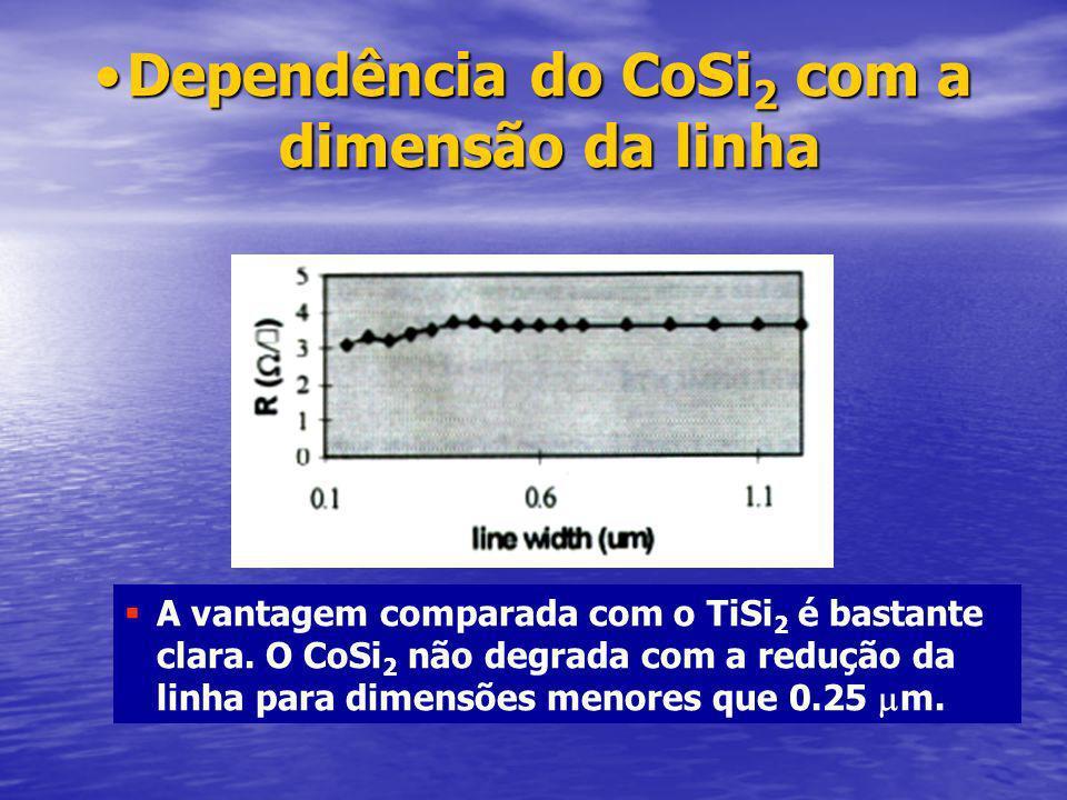 Dependência do CoSi2 com a dimensão da linha