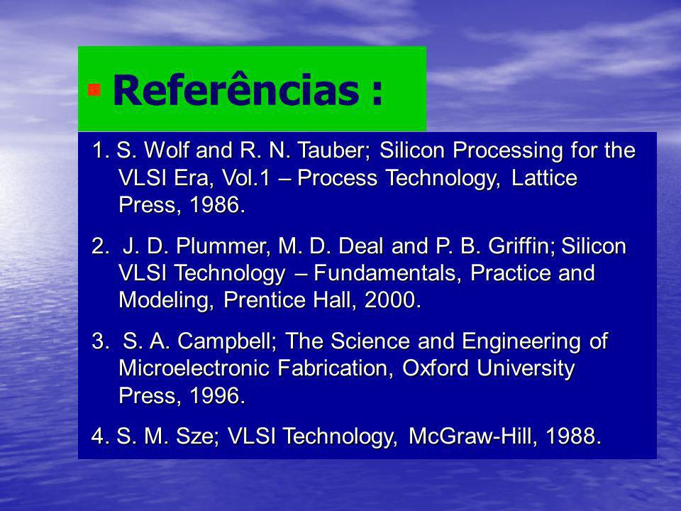 Referências : 1. S. Wolf and R. N. Tauber; Silicon Processing for the VLSI Era, Vol.1 – Process Technology, Lattice Press, 1986.