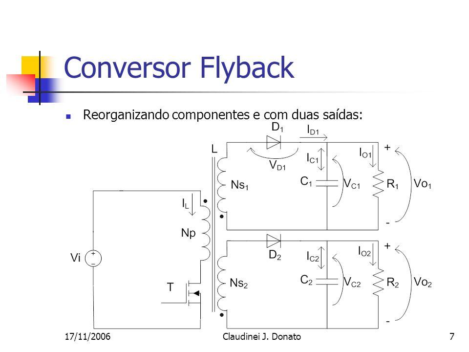 Conversor Flyback Reorganizando componentes e com duas saídas: