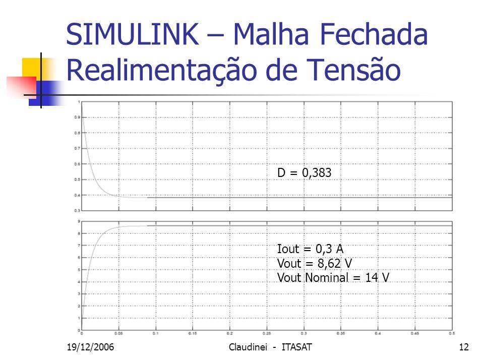 SIMULINK – Malha Fechada Realimentação de Tensão