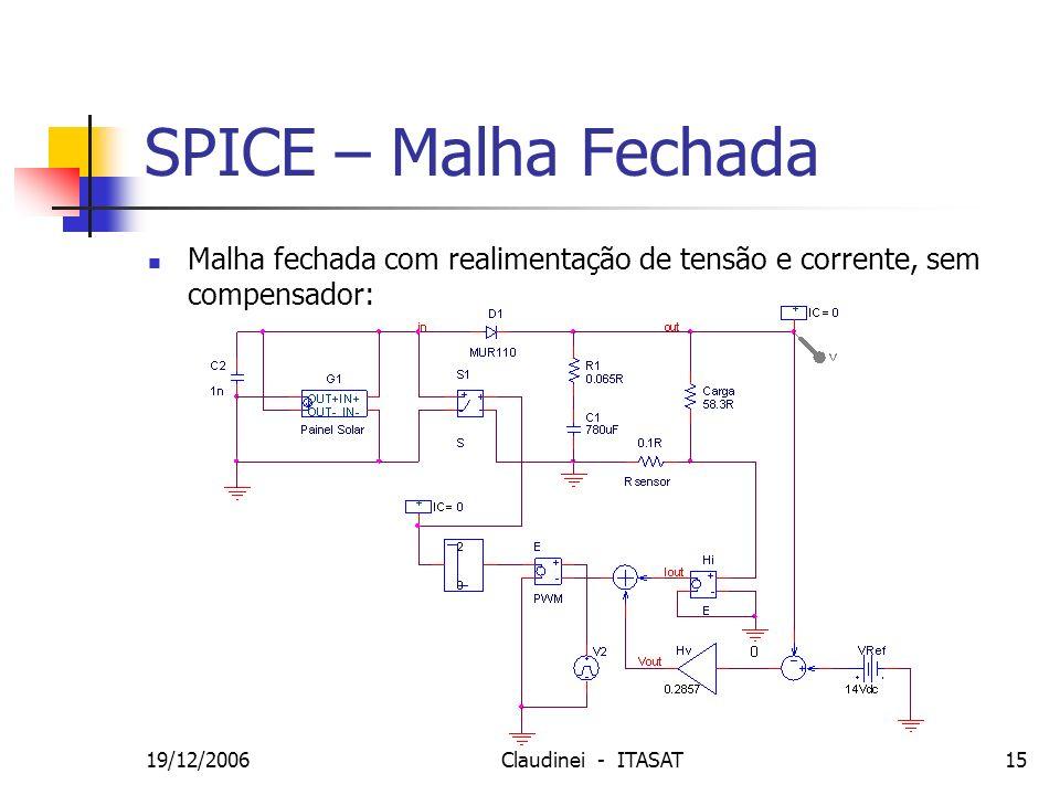 SPICE – Malha Fechada Malha fechada com realimentação de tensão e corrente, sem compensador: 19/12/2006.