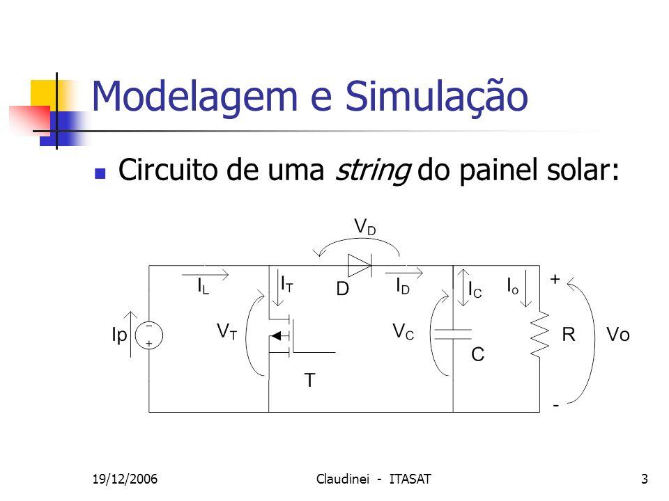 Modelagem e Simulação Circuito de uma string do painel solar: