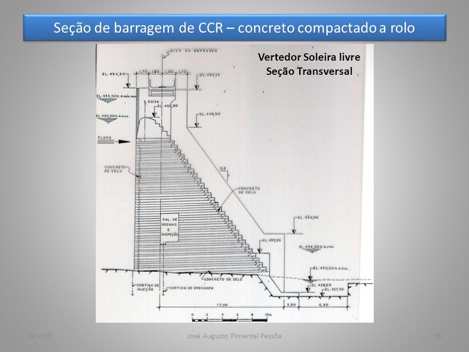 Seção de barragem de CCR – concreto compactado a rolo