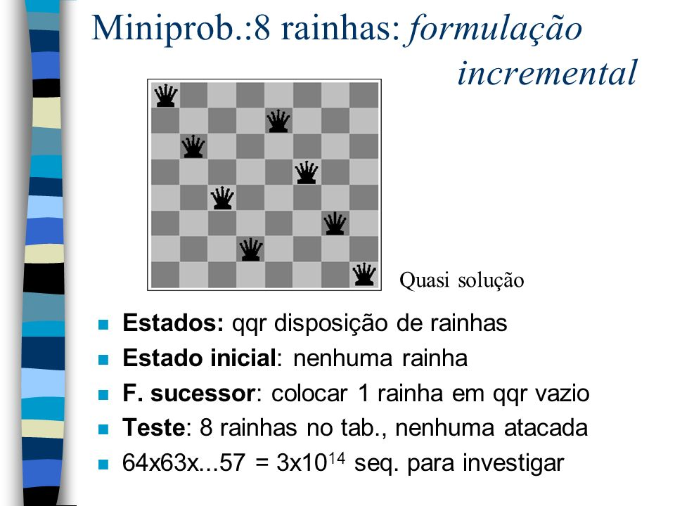 Miniprob.:8 rainhas: formulação incremental