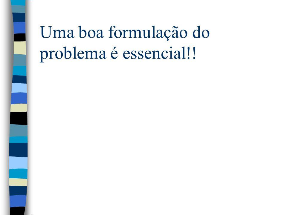 Uma boa formulação do problema é essencial!!