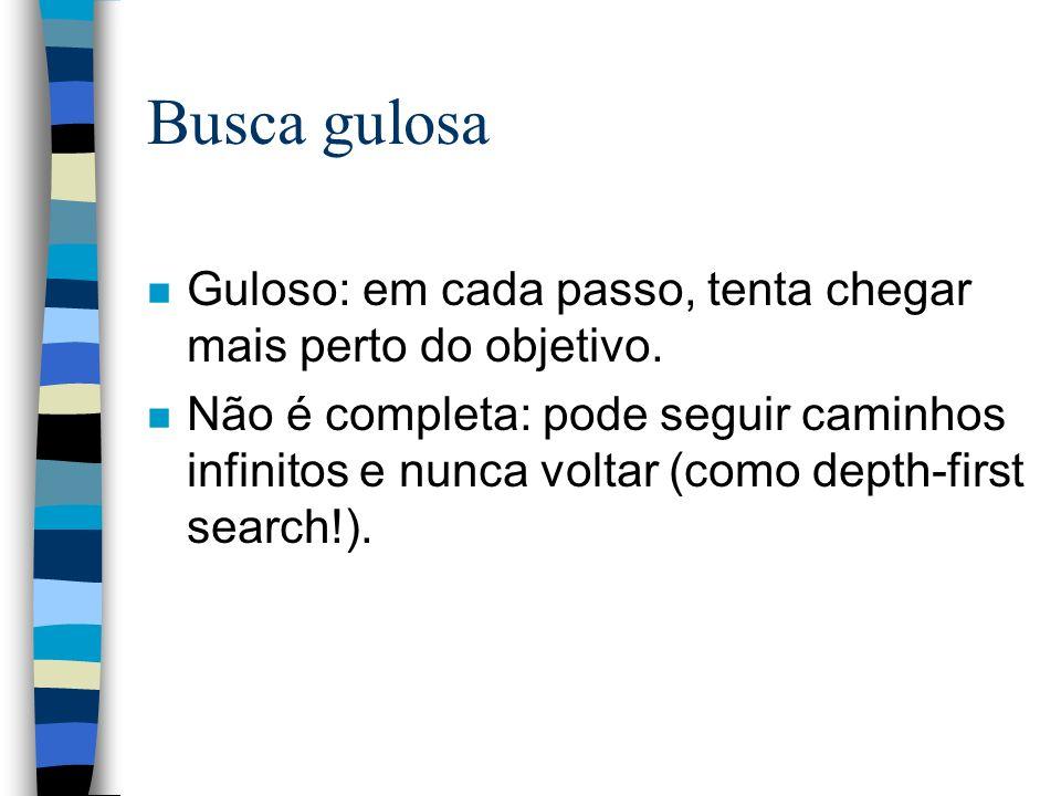 Busca gulosa Guloso: em cada passo, tenta chegar mais perto do objetivo.