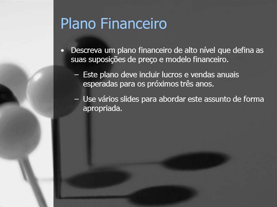 Plano Financeiro Descreva um plano financeiro de alto nível que defina as suas suposições de preço e modelo financeiro.