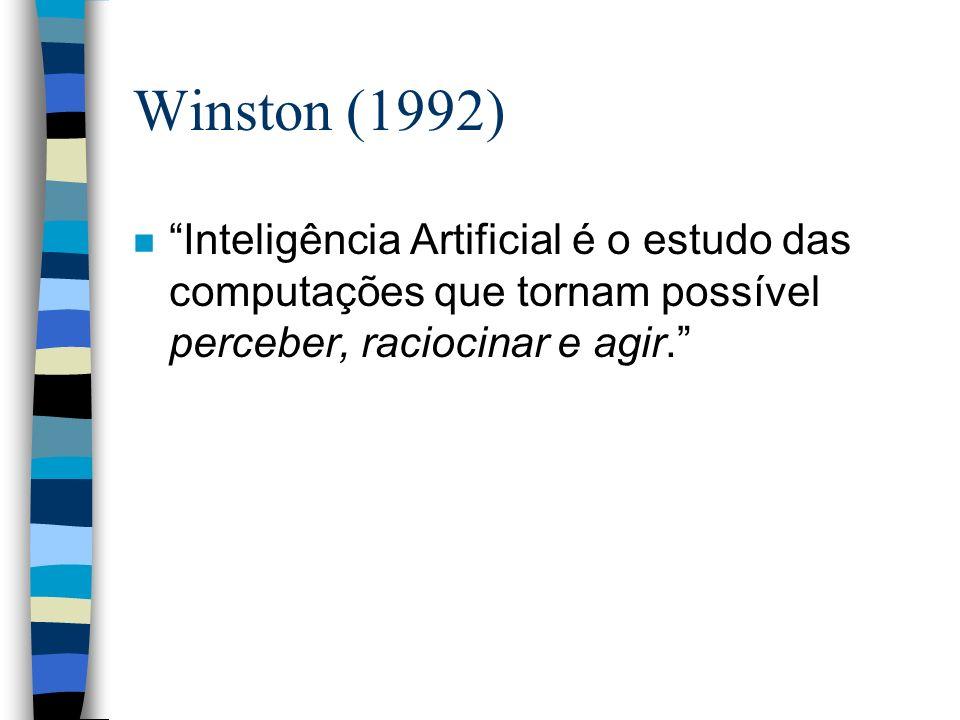 Winston (1992) Inteligência Artificial é o estudo das computações que tornam possível perceber, raciocinar e agir.