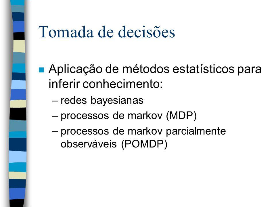Tomada de decisões Aplicação de métodos estatísticos para inferir conhecimento: redes bayesianas. processos de markov (MDP)