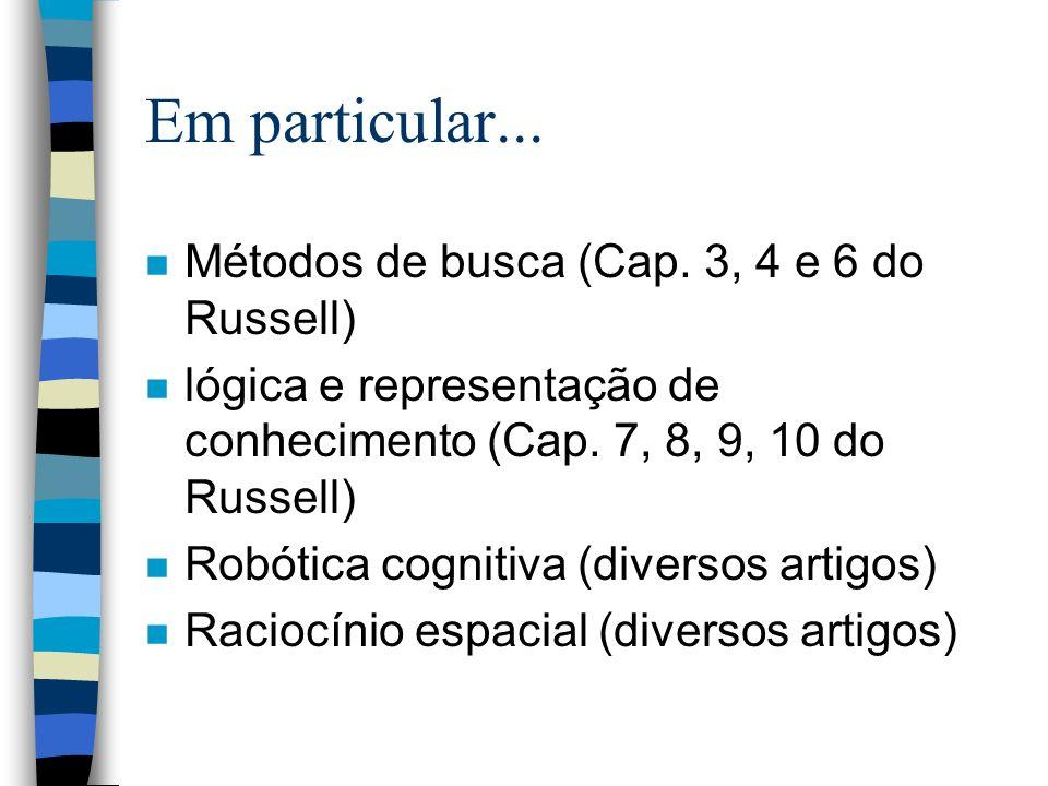 Em particular... Métodos de busca (Cap. 3, 4 e 6 do Russell)