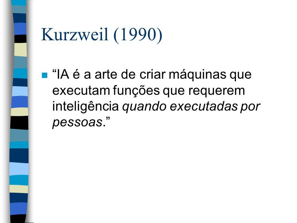 Kurzweil (1990) IA é a arte de criar máquinas que executam funções que requerem inteligência quando executadas por pessoas.