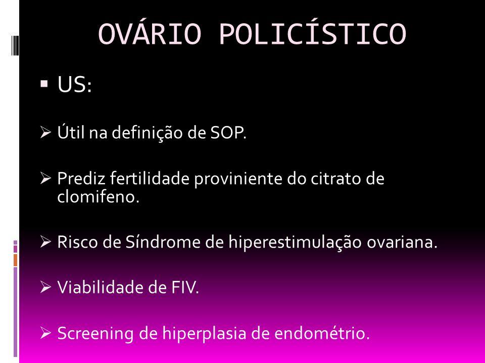 OVÁRIO POLICÍSTICO US: Útil na definição de SOP.