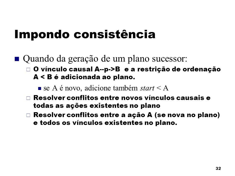 Impondo consistência Quando da geração de um plano sucessor:
