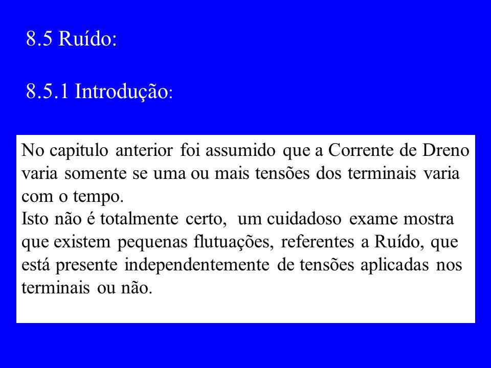 8.5 Ruído: 8.5.1 Introdução: No capitulo anterior foi assumido que a Corrente de Dreno. varia somente se uma ou mais tensões dos terminais varia.