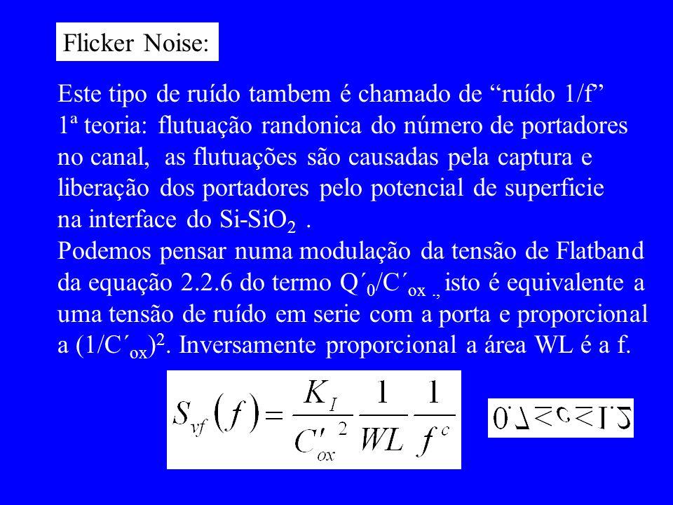 Flicker Noise: Este tipo de ruído tambem é chamado de ruído 1/f 1ª teoria: flutuação randonica do número de portadores.