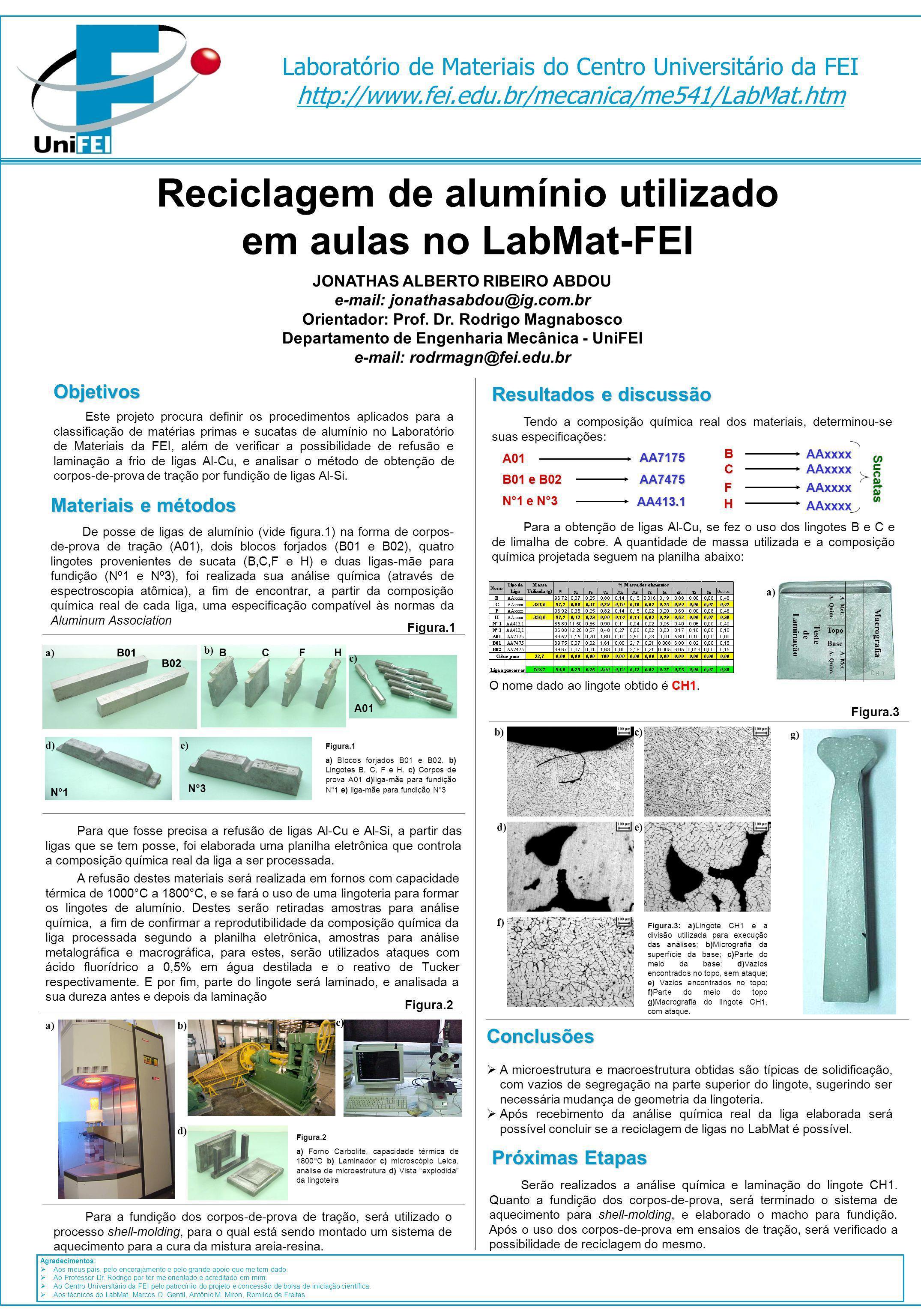 Reciclagem de alumínio utilizado em aulas no LabMat-FEI