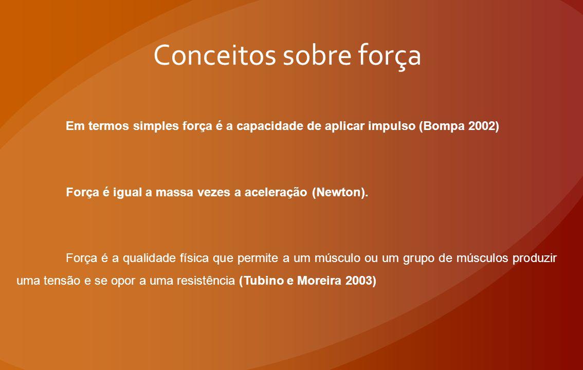 Conceitos sobre força Em termos simples força é a capacidade de aplicar impulso (Bompa 2002) Força é igual a massa vezes a aceleração (Newton).