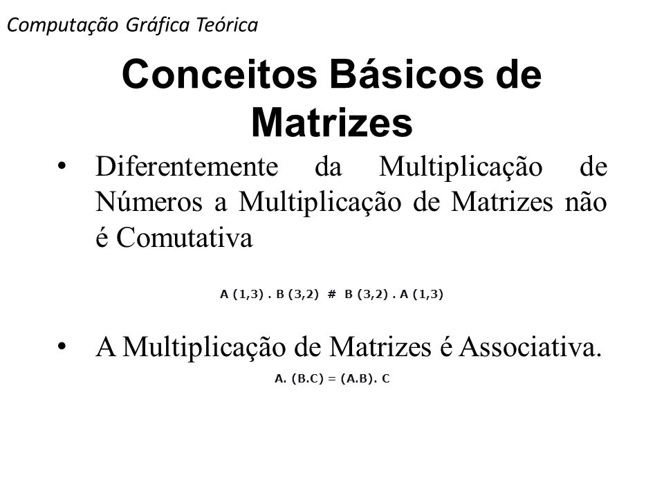 Conceitos Básicos de Matrizes