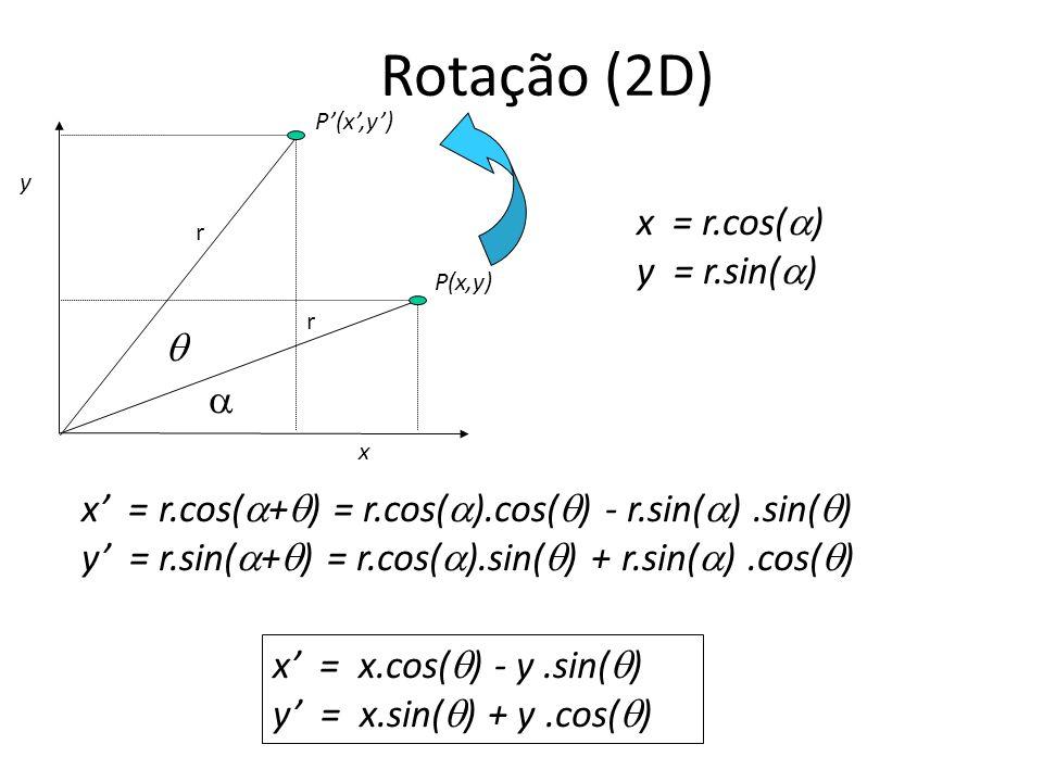 Rotação (2D) x = r.cos() y = r.sin()  