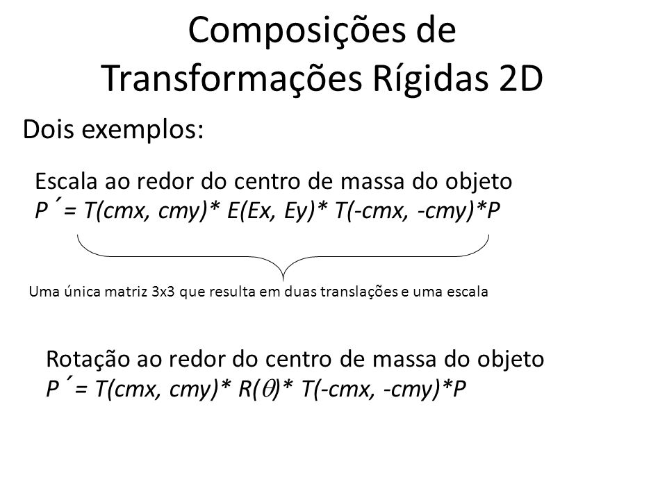 Composições de Transformações Rígidas 2D