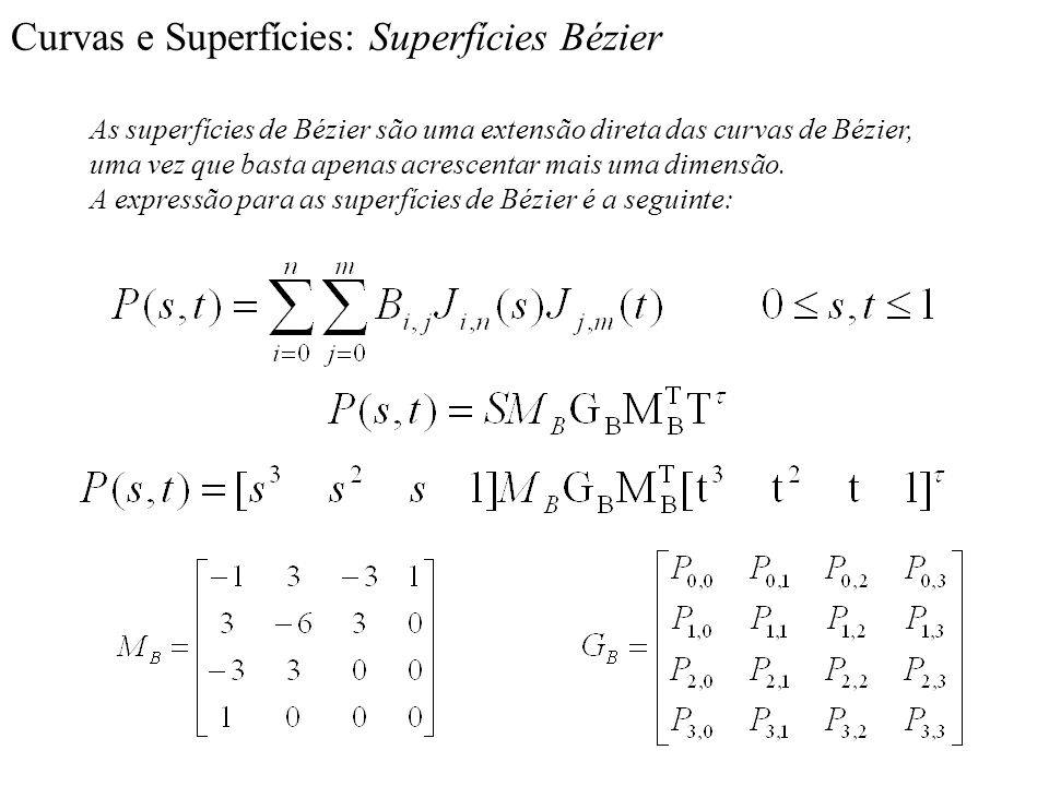 Curvas e Superfícies: Superfícies Bézier