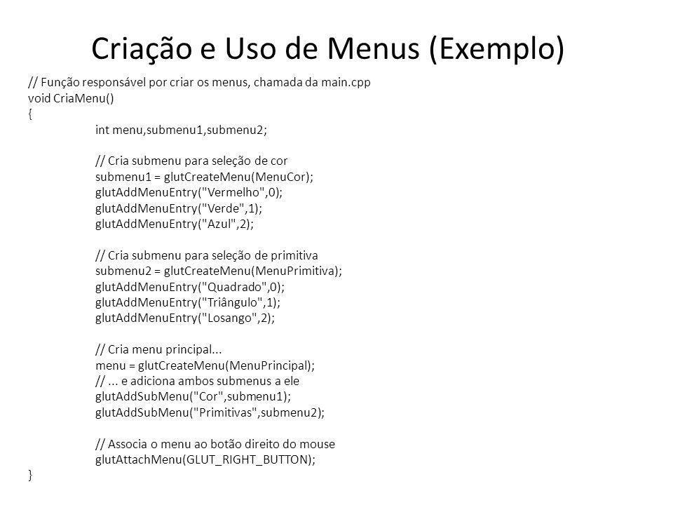 Criação e Uso de Menus (Exemplo)
