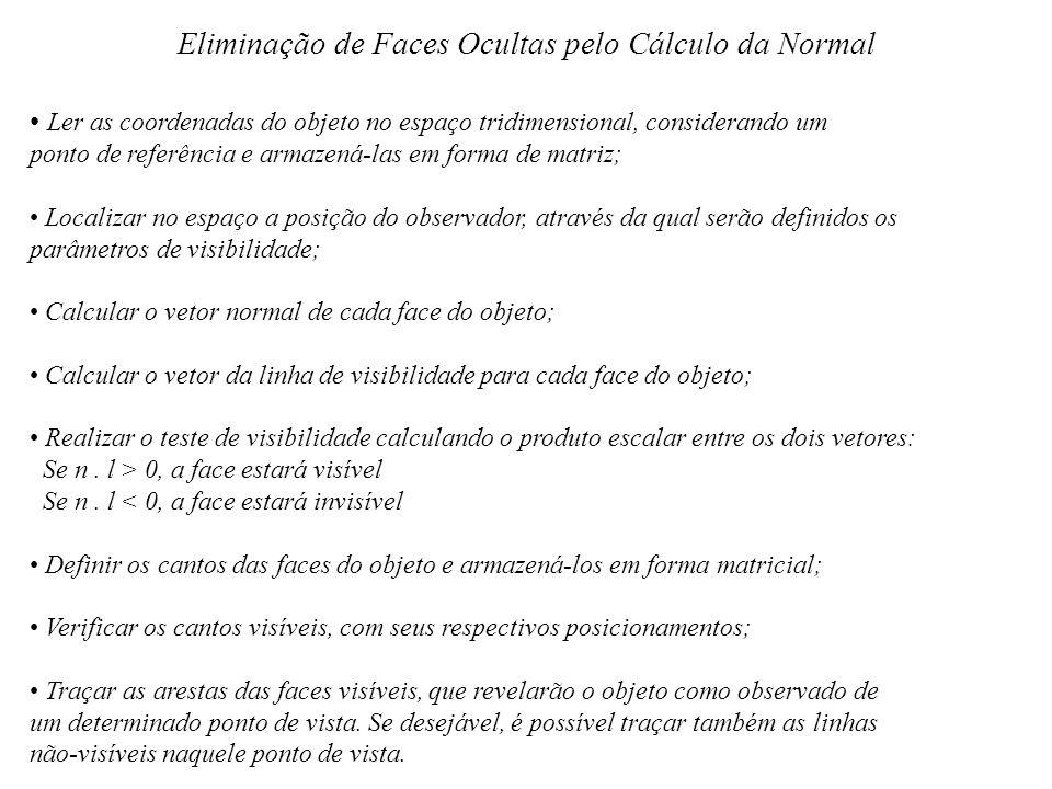 Eliminação de Faces Ocultas pelo Cálculo da Normal