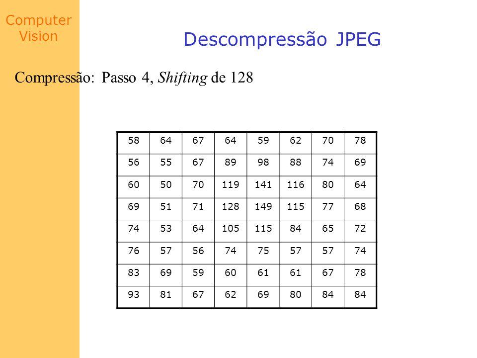 Descompressão JPEG Compressão: Passo 4, Shifting de 128 58 64 67 59 62