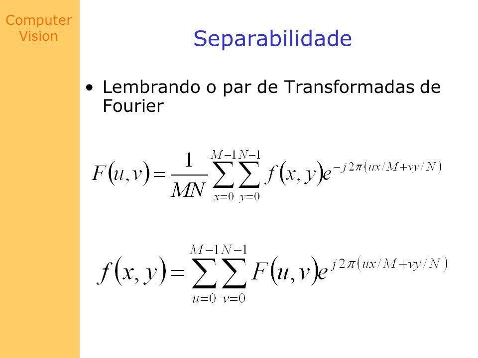 Separabilidade Lembrando o par de Transformadas de Fourier