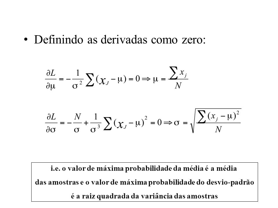 Definindo as derivadas como zero: